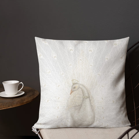 "Premium pillow ""Every bird is proud of its feathers"" (White Peacock)"