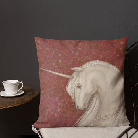 "Premium pillow ""Don't ask questions about fairy tales"" (Unicorn)"