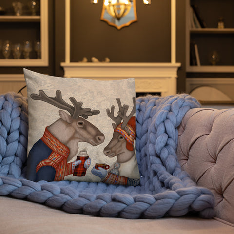 "Premium pillow ""Coffee and love taste best when hot"" (Reindeers)"