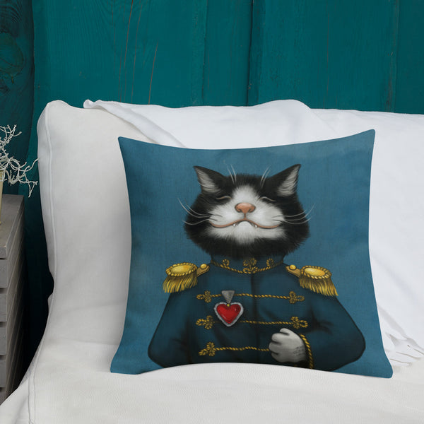 "Premium pillow ""All's fair in love and war"" (Cat)"