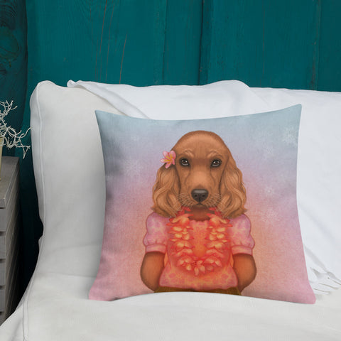 "Premium pillow ""Love is worn like a wreath through the summers and the winters"" (English Cocker Spaniel)"