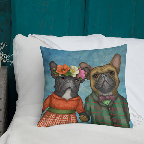 "Premium pillow ""A life without love is like a year without summer"" (French bulldogs)"
