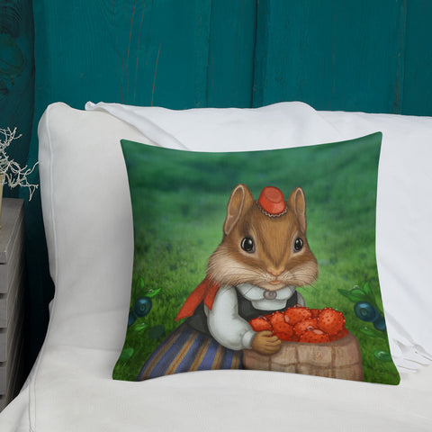 "Premium pillow ""Other land blueberry, own land strawberry"" (Chipmunk)"