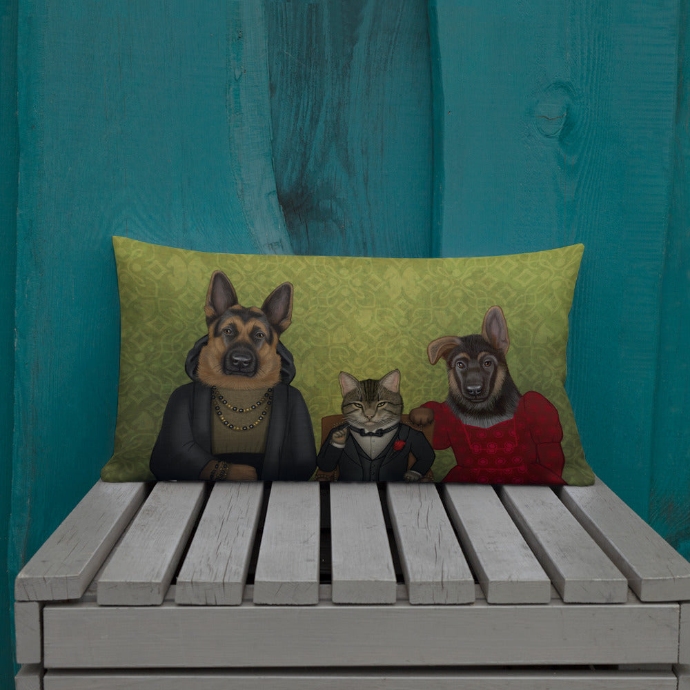 "Premium pillow ""We may be different, but we are a family"" (Cat and German shepherds)"