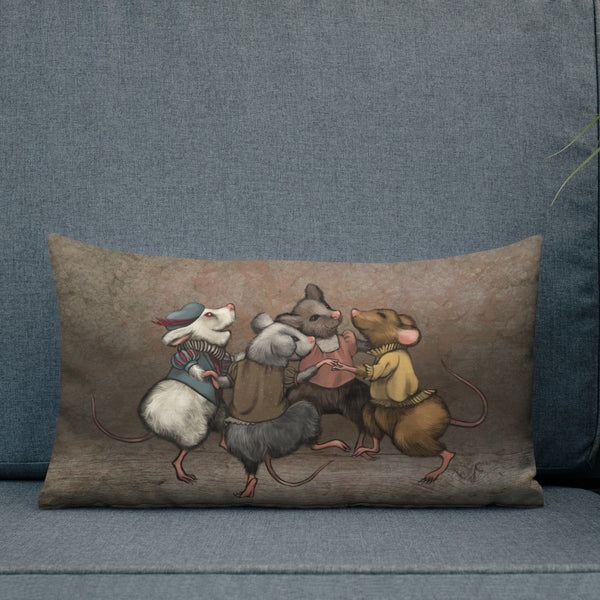 "Premium pillow ""When the cat is away, the mice will play"" (Mice)"