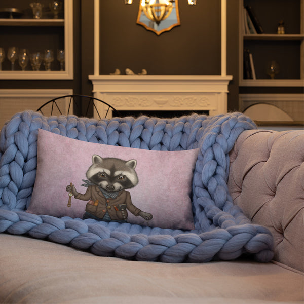 "Premium pillow ""Finders keepers"" (Raccoon)"