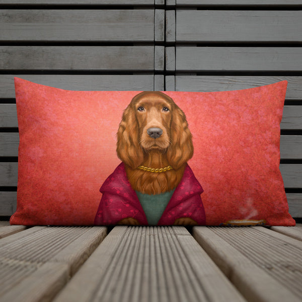 "Premium pillow ""Reading books removes sorrow from the heart"" (Irish Setter)"