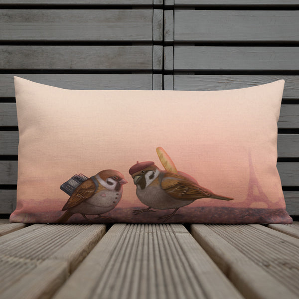 "Premium pillow ""Paris is owned by the early risers"" (Sparrows)"