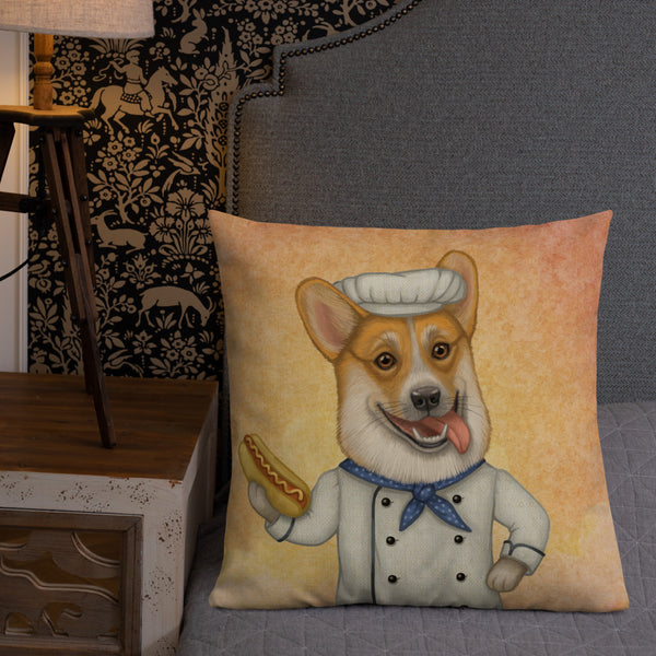 "Premium pillow ""An empty belly is the best cook"" (Pembroke Welsh corgi)"