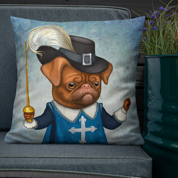 "Premium pillow ""He fights with spirit as well as with the sword"" (Petit Brabançon)"