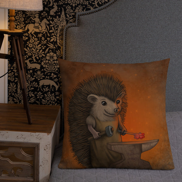 "Premium pillow ""Everyone is the blacksmith of his own fortune"" (Hedgehog)"