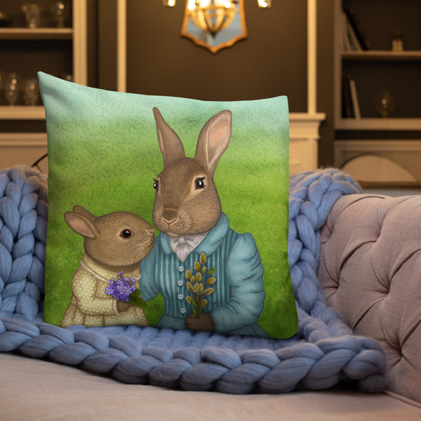 "Premium pillow ""It is never winter in the land of hope"" (Hares)"