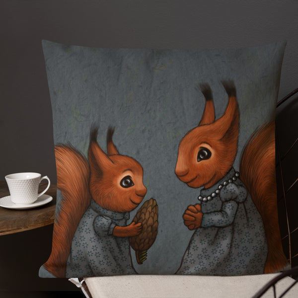 "Premium pillow ""The apple never falls far from the tree"" (Squirrels)"