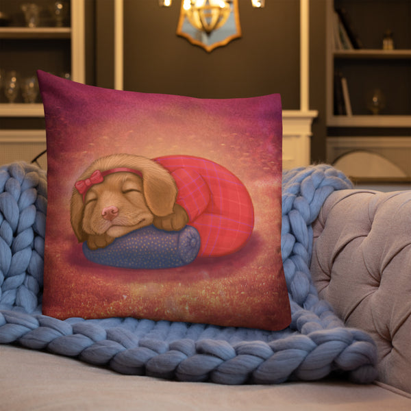 "Premium pillow ""Let her sleep for when she wakes she will move mountains"" (Nova Scotia Duck Tolling Retriever)"