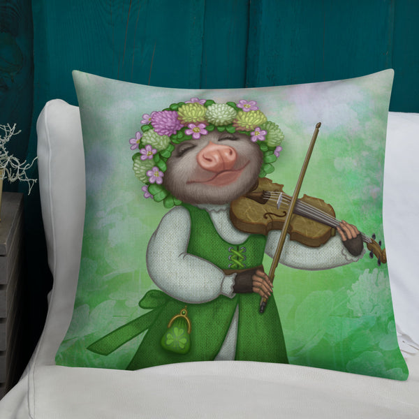"Premium pillow ""The older the fiddle the sweeter the tune"" (Opossum)"
