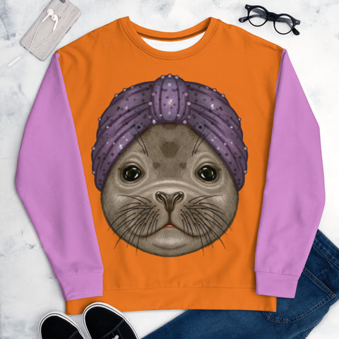 "Unisex sweatshirt ""Turban hat"" (ringed seal)"