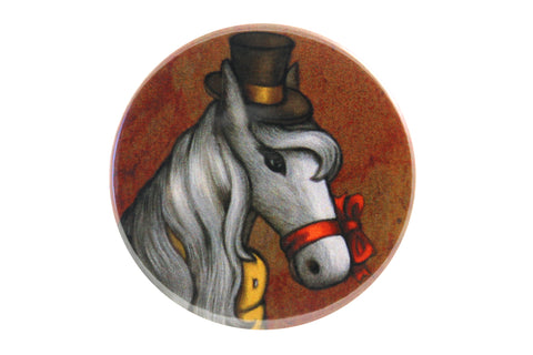 "Badge ""Don't look a gift horse in the mouth"""