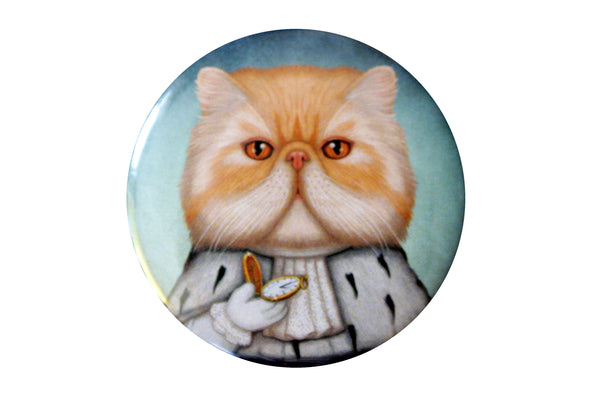 "Badge ""Punctuality is the politeness of kings"" (Persian cat)"