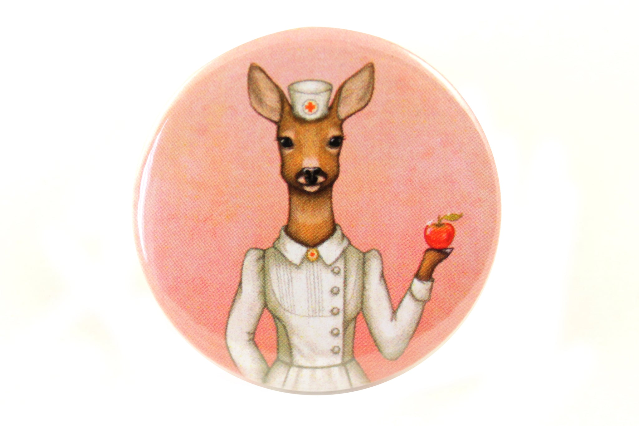 "Badge ""An apple a day keeps the doctor away"" (Deer)"