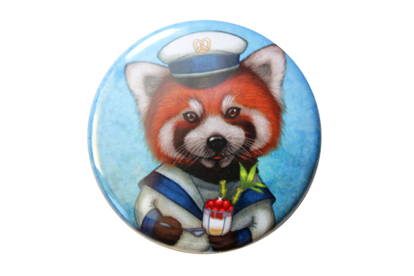 "Badge ""Life is uncertain so eat your dessert first"" (Red panda)"