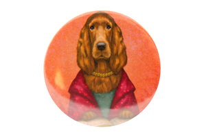 "Badge ""Reading books removes sorrow from the heart"" (Irish Setter)"