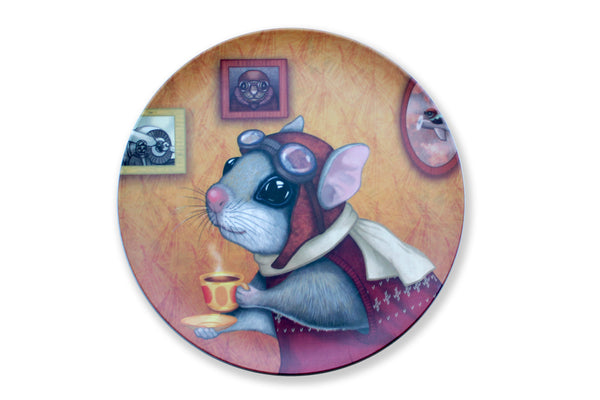 "Bamboo plate ""Who is timid in the woods boasts at home"" (Flying squirrel)"