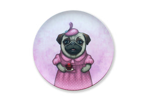"Bamboo plate ""A full stomach makes a happy heart"" (Pug)"