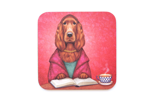 "Coaster ""Reading books removes sorrow from the heart"" (Irish Setter)"