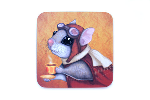 "Coaster ""Who is timid in the woods boasts at home"" (Flying squirrel)"