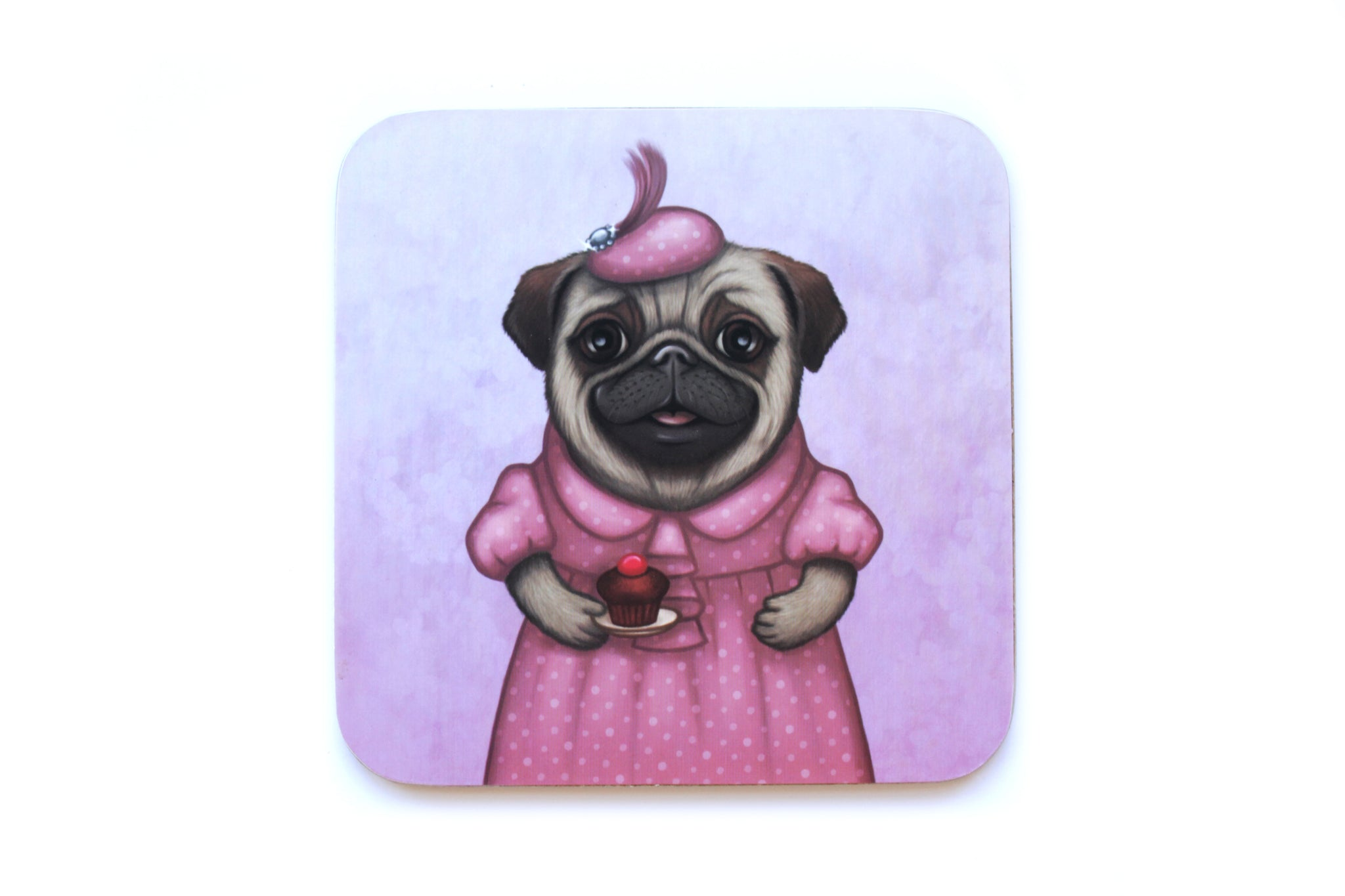 "Coaster ""A full stomach makes a happy heart"" (Pug)"