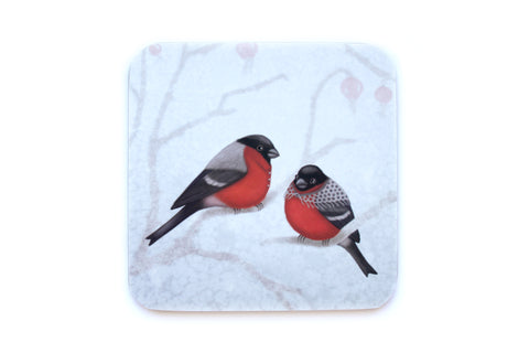 "Coaster ""A bush doesn't grow berries in winter"" (Eurasian bullfinches)"