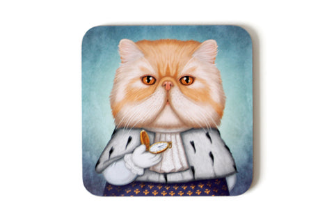 "Coaster ""Punctuality is the politeness of kings"" (Persian cat)"