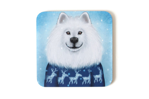 "Coaster ""No snowflake ever falls in the wrong place"" (Samoyed)"