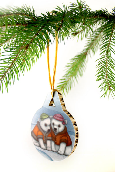 "Christmas tree decoration ""You don't really know your friends until the ice breaks"" (Polar bears)"