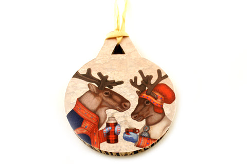 "Christmas tree decoration ""Coffee and love taste best when hot"" (Reindeers)"