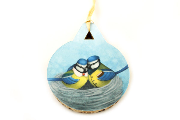 "Christmas tree decoration ""East or West, home is best"" (Blue tits)"