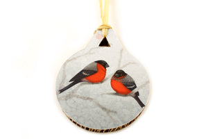 "Christmas tree decoration ""A bush doesn't grow berries in winter"" (Eurasian bullfinches)"