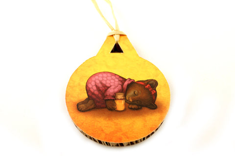 "Christmas tree decoration ""Sleeping is sweeter than honey"" (Bear)"
