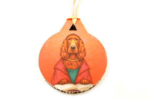 "Christmas tree decoration ""Reading books removes sorrow from the heart"" (Irish Setter)"