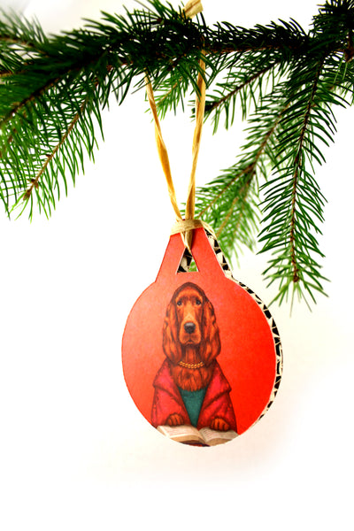 "Christmas tree decoration ""Reading books removes sorrow from the heart"""