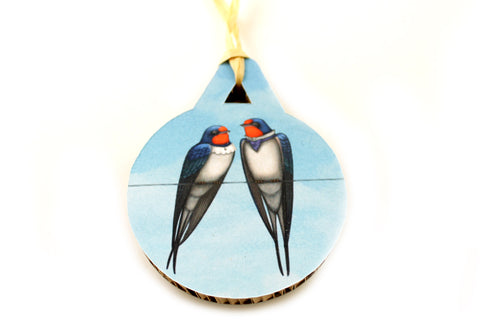 "Christmas tree decoration ""Everybody loves his homeland"" (Swallows)"