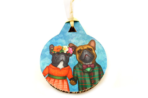 "Christmas tree decoration ""A life without love is like a year without summer"" (French bulldogs)"