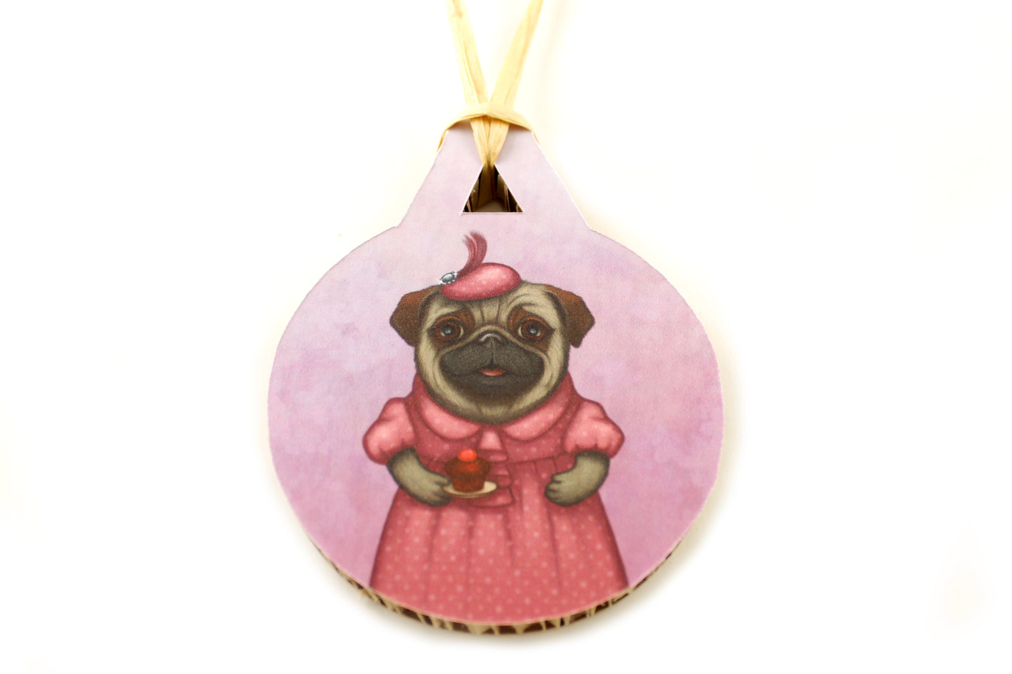 "Christmas tree decoration ""A full stomach makes a happy heart"" (Pug)"
