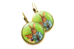 "Earrings ""It is never winter in the land of hope"" (Hares)"