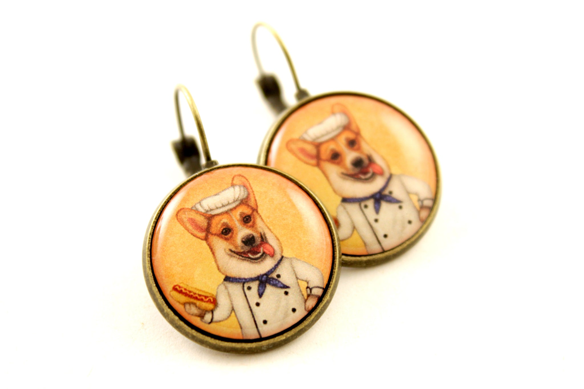 "Earrings ""An empty belly is the best cook"""