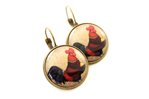"Earrings ""If you were born lucky, even your rooster will lay eggs"""