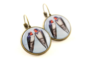 "Earrings ""Everybody loves his homeland"" (Swallows)"