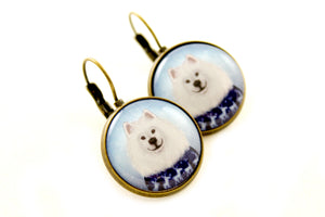 "Earrings ""No snowflake ever falls in the wrong place"" (Samoyed)"
