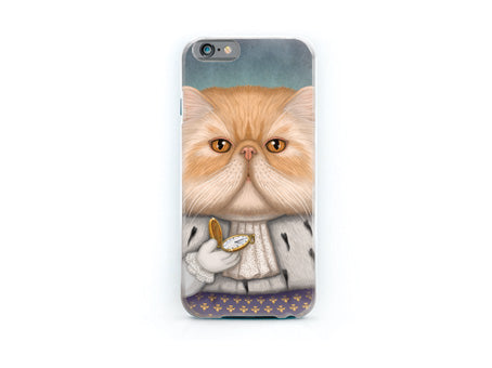 "iPhone cover ""Punctuality is the politeness of kings"" (Persian cat)"