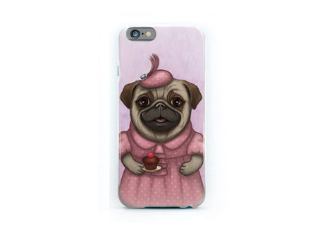 "iPhone cover ""A full stomach makes a happy heart"" (Pug)"